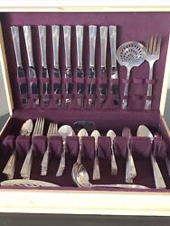 Vintage Rare Caprice Pattern Nobility Plate In Case Silverware Set-83 Piece