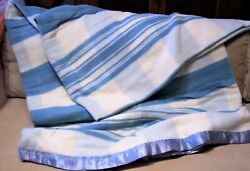 Vintage Blue White Cotton Flannel Camp Blanket 76x170 Double Long New Unused