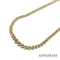 18k Yellow Gold Diamond Tennis Necklace Cleaned Necklace From Japan