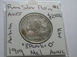 Australia Florin 1919 Silver Coin Kgv Nice 8 Pearls + Cd About Unc High Cv
