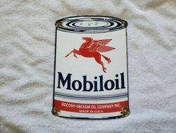 Vintage Gas Oil Advertising Signs Porcelain Mobil Oil Can