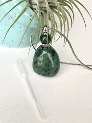 Ruby Zoisite Gemstone Perfume Bottle Essential Oil Necklace Pendant Silver Chain