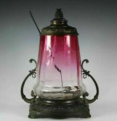 Wmfn Antique Victorian Silverplate And Etched Art Glass 15 Covered Serving Jar