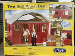 Large 2 Stall Wood Barn Stable For Traditional Breyer Horses 21.75andrdquox16.75andrdquox16.5andrdquo