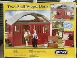 """Large 2 Stall Wood Barn Stable For Traditional Breyer Horses 21.75""""x16.75""""x16.5"""""""