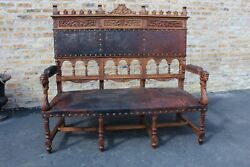 Antique Carved Solid Walnut Austrian Hall Bench Seat With Orig. Leather Ca188