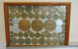 Vintage Beautiful Old Antique Wall Pano Rare Russian Coins Medals Hand Made Used