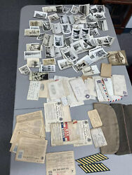 Ww2 Lot Of Over 100 Pictures 36 War Letters War Rations Hats Id Card And More