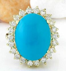Igi Certified 3.33ct Natural Turquoise Solid 14k Yellow Gold Diamond Ring