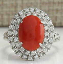 Igi Certified 3.99ct Natural Red Coral Solid 14k White Gold Diamond Ring