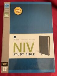 New Niv Study Bible By Zondervan Staff Black Top Grain Leather Thumb Index