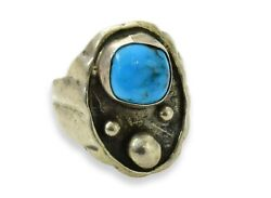 Antique 1800's Native American Sterling And Turquoise Ring With Silver Drops