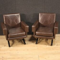 Pair Of Modern Armchairs Faux Leather Fabric Vintage Furniture Chairs Modernism