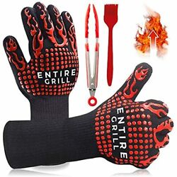 Entire Bbq Grill Gloves, Extreme Heat Resistant, Insulated Fireproof Silicone Ov