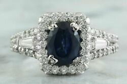 3.19 Ct Oval Cut Natural Sapphire Real Solid 14k White Gold Diamond Ring