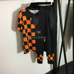 Printed Round Neck Short Sleeves T-shirt+elastic Waist Casual Pants Sports Suit