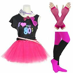 FUNDAISY Gilrs 80s Costume Accessories Fancy Outfit Dress for 1980s Theme Par...