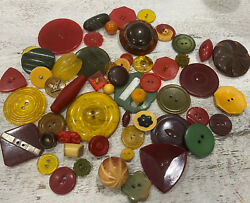 Bakelite Cherry Mixed Red Butterscotch Vintage Button Lot Collectable  28