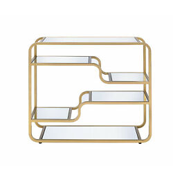 Benzara Metal Framed Mirror Sofa Table With Tiered Shelves, Gold And Clear