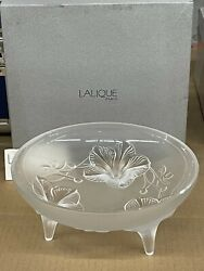 Lalique France Crystal Orchidee 3 Footed Bowl - New In Box 1111300