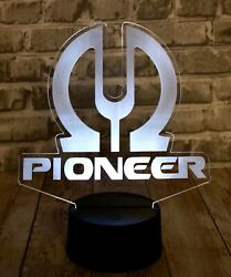 Pioneer Stereo Vintage Logo Led Lighted Sign 16 Color Base High Quality