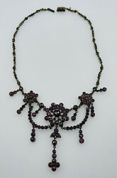 Antique Magnificent Victorian Goldfilled Bohemian Red Garnet Chandelier Necklace