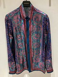 Versace Scarf-print Silk Shirt In All Sizes