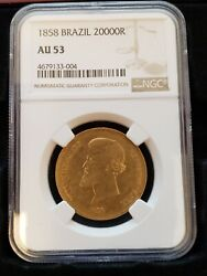 1858 20000 Reis Brazil Gold Coin Ngc Au 53 Low Mintage Only 32000 Pedro Ii