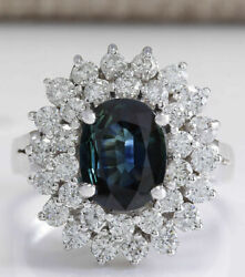 3.38 Ct Oval Cut Natural Sapphire Real Solid 14k White Gold Luxury Diamond Ring
