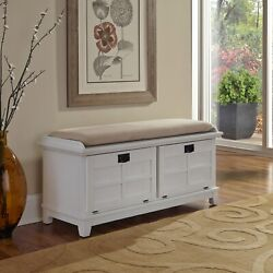 Home Styles Arts And Crafts Upholstered Bench White