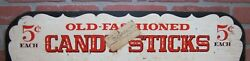 Old Fashioned Candy Sticks 5c Each Vintage Wooden Store Display Advertising Sign