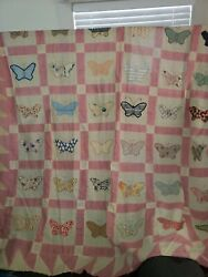 Vintage 30s Applique Butterfly Feedsack Quilt Top Unfinished 89x76