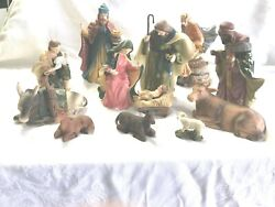 12 Pc Large Hollow Plaster Nativity  Very Old
