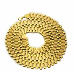 """14k Solid Yellow Gold Wide Rolex Link Style Chain Necklace 22,24,26,28"""" 10 Mm"""