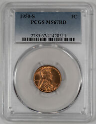 1950 S Lincoln Wheat Cent Penny 1c Pcgs Ms 67 Red Mint State Uncirculated 311