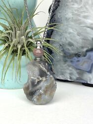 Rough Agate Gemstone Perfume Bottle Essential Oil Necklace Pendant Silver Chain