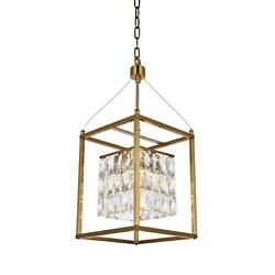 Bethel An Antique Brass Metal Frame Chandelier With Clear Hanging Crystals