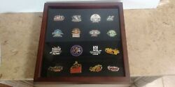 16-vtg 1990's Indy Racing Driver Pins And Wood Display Case Foyt-unser-andretti X3