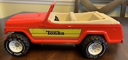 Vintage Tonka Jeep Jeepster Red In Great Condition 1970andrsquos 13andrdquo Long
