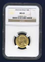 Italy 1931-r Yr. Ix 50 Lire Uncirculated Gold Coin Ngc Certified Ms63