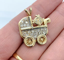Mother's 14k Yellow Gold With Diamond A Baby In Carriage/stroller Pendent Ng