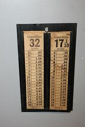 1920-30s Vintage Dibb Mfg Double Sided Gas Station Price Display W/ Price Cards