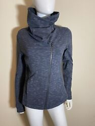 Lucy Hatha Flow Heather Gray Asymmetric Funnel Neck Athletic Jacket Small