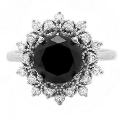 2.70ct Natural Black And White Diamond 14k Solid White Gold Ring