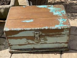 Vintage Indian Traders Wooden Box Chest Cash Till Removable Tray Salvage Storage