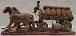 Rare Circa 1870's Hand Carved German Beer Wagon Leather Horse Ears And Straps
