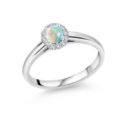 0.39 Ct White Simulated Opal White Created Sapphire 10k White Gold Ring