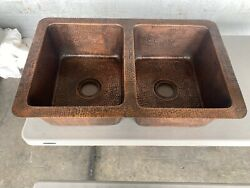 Copper Drop-in Handmade 32 In. 0-hole 50/50 Double Bowl Kitchen Sink In Hammered