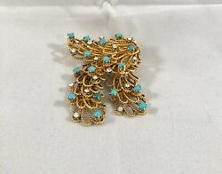 Vintage 18k Yellow Gold Genuine Diamond And Turquoise Pin Brooch