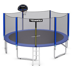 Trampoline Combo Bounce Jump Safety Enclosure Net W/ Basketball Hoop Multi Size